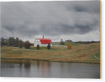 Red Barn Wood Print by Maggy Marsh