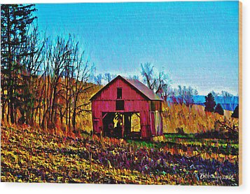Red Barn On A Hillside Wood Print by Bill Cannon