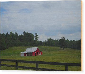 Red Barn Wood Print by Victoria Ashley