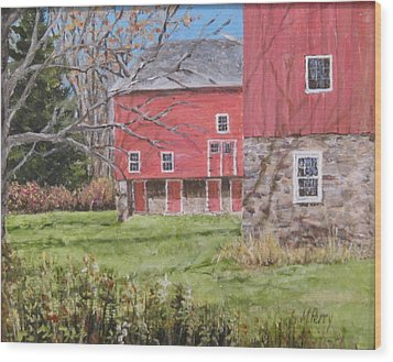 Red Barn With Shadows Wood Print