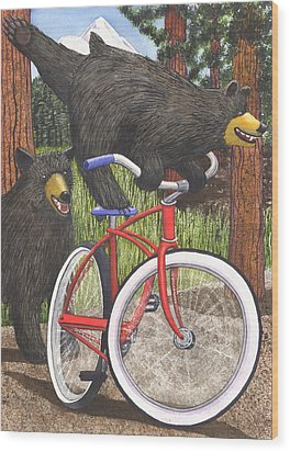 Red Bike Wood Print by Catherine G McElroy