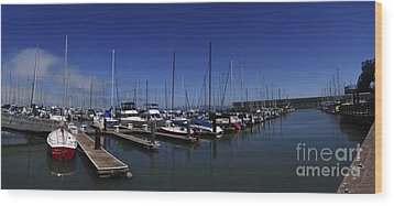 Wood Print featuring the photograph Red Boat Panorama  by Sherry Davis