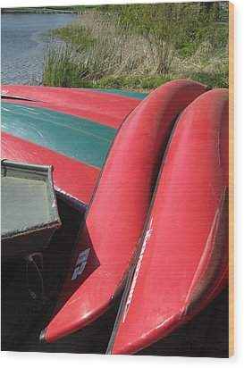 Red Boats Wood Print by Todd Sherlock