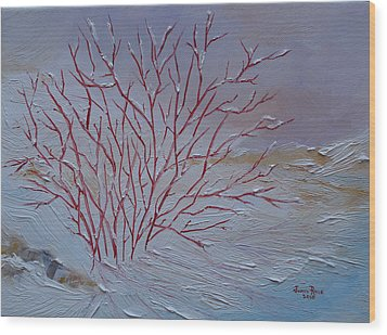Wood Print featuring the painting Red Branches by Judith Rhue
