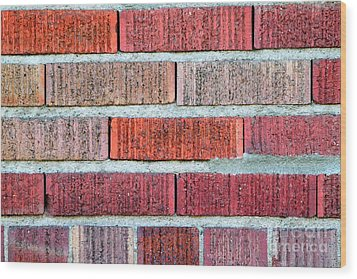 Red Brick Wall Wood Print by Henrik Lehnerer
