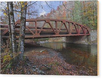 Red Bridge Wood Print by Debra and Dave Vanderlaan