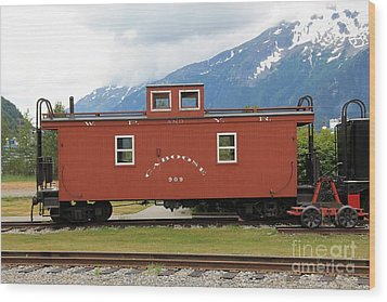 Red Caboose Wood Print by Sophie Vigneault