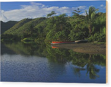 Red Canoe On Roseau River- St Lucia Wood Print by Chester Williams