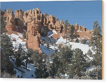 Red Canyon Wood Print by Bob and Nancy Kendrick