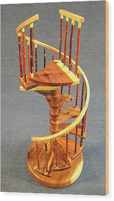 Red Cedar Rustic Spiral Stairs Wood Print by Don Lorenzen