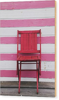 Red Chair And Pink Strips Wood Print by Garry Gay