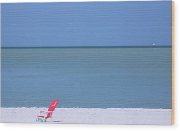 Red Chair And Sailboat Wood Print