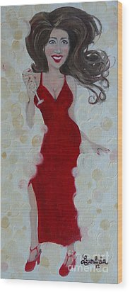 Red Champagne Wood Print