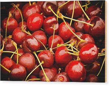 Red Cherries Wood Print by Jen Morrison