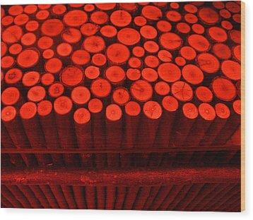 Red Circle Sticks Wood Print by Kym Backland