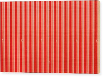 Red Corrugated Metal Wood Print by Tom Gowanlock