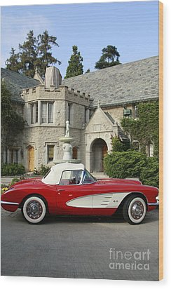 Red Corvette Outside The Playboy Mansion Wood Print by Nina Prommer