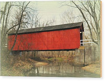 Red Covered Bridge Wood Print by Marty Koch