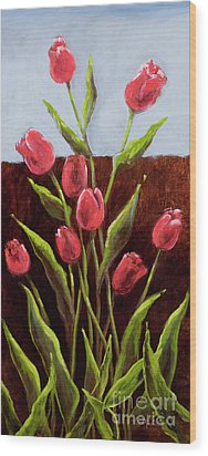 Red Delight-tulips Wood Print by Vic  Mastis