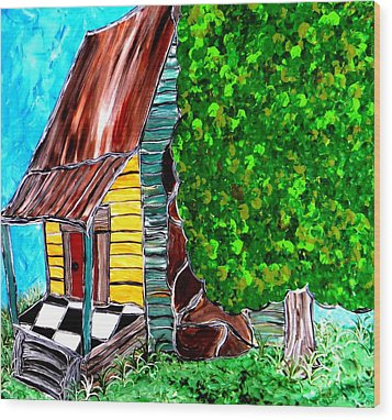 Red Door Wood Print by Amy Carruth-Drum