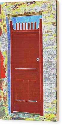 Red Door Wood Print by Dulce Levitz