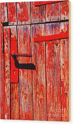 Red Door Wood Print by Rick Bragan