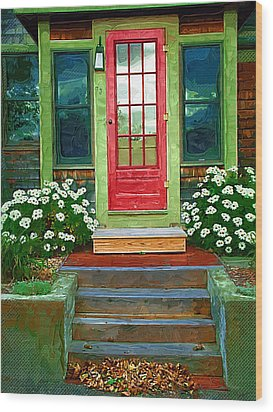 Red Door Wood Print by Susan Lee Giles