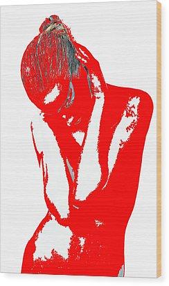 Red Drama Wood Print by Naxart Studio