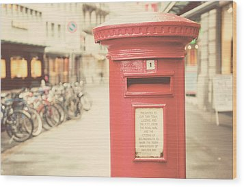 Red English Post Box In Lucerne, Switzerland Wood Print by Copyright Laura Evans. All Rights Reserved.