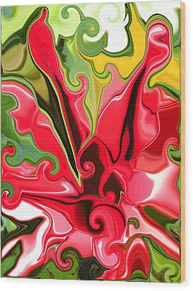 Red Fantasy Lily Wood Print