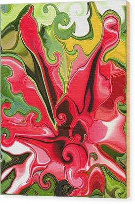 Red Fantasy Lily Wood Print by Renate Nadi Wesley