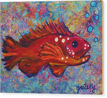 Red Fish Wood Print by Paintings by Gretzky