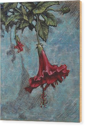 Red Flower Wood Print by Greg Riley