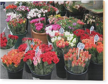 Red Flowers In French Flower Market Wood Print by Carla Parris