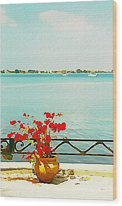 Red Flowers On The Bay Wood Print by Joan McArthur