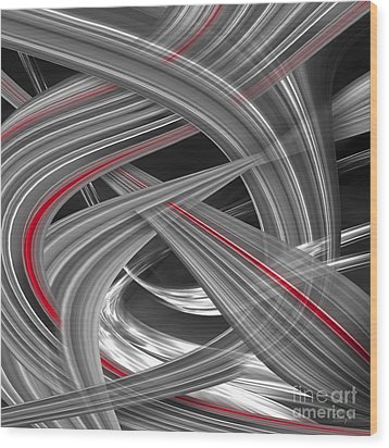 Wood Print featuring the digital art Red Flows by Johnny Hildingsson