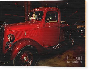 Red Ford Truck Wood Print by Susanne Van Hulst