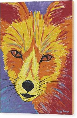 Red Fox Wood Print by Peggy Quinn