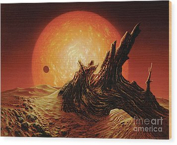 Red Giant Sun Wood Print by Don Dixon