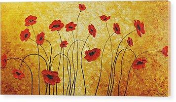 Red Gold Wood Print by Irena Sherstyuk