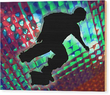 Red Green And Blue Abstract Boxes Skateboarder Wood Print by Elaine Plesser