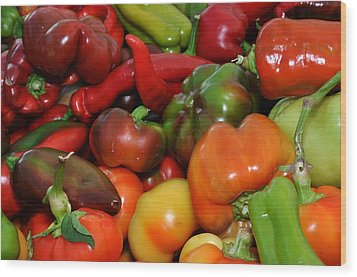 Red Green Orange And Yellow Peppers Wood Print by Diane Lent