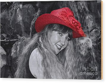 Red Hat And A Blonde Black And White Wood Print by Mariola Bitner