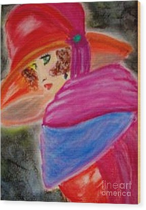 Wood Print featuring the painting Red Hat by Lori  Lovetere