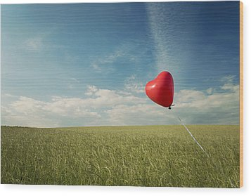 Red Heart Balloon, Blue Sky And Fields Wood Print by Image by Debbie Margetts - Ancora Imparo