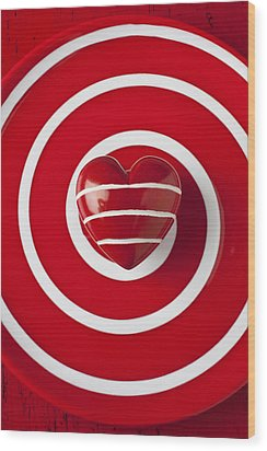 Red Heart Soft Stone Wood Print by Garry Gay