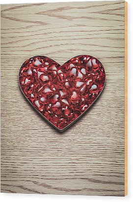 Red Hearts In A Heart Shape Wood Print by Jonathan Kitchen