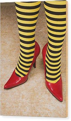 Red High Heels Andstockings Wood Print by Garry Gay