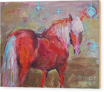 Red Horse Contemporary Painting Wood Print by Svetlana Novikova