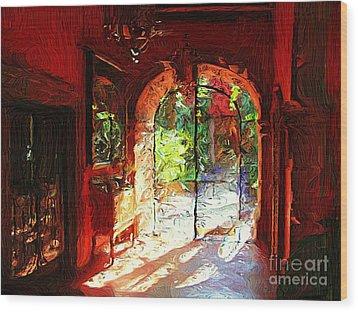 Wood Print featuring the digital art Red Hotel Lobby by John  Kolenberg